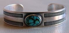 Navajo McKee Platero Silver and #8 Turquoise Bracelet