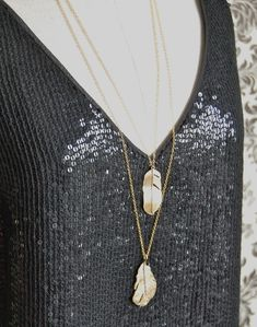 Gold Feathers Layered Long Necklace Statement Piece