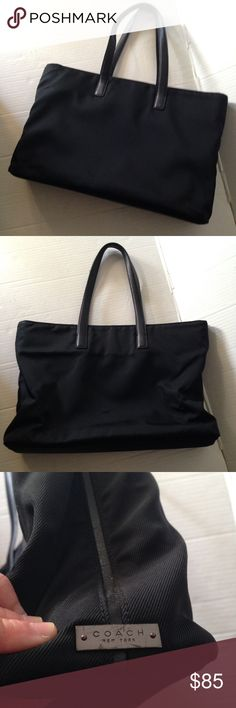 Coach Mercer Computer Tote 5117 in Black Twill The perfect bag to use for new job! This chic work tote has a slot to hold your laptop. It can fit up towards about 13 inches. The measurement across is 17 inches, 12 inches from top to bottom, and 4 inches in depth. It is missing the hang tag but I will try to locate a one, no promises. This is a Coach Mercer Computer tote from 2000. I've attached a stock photo thanks to Hyacinth of the PurseForum. This twill fabric makes it extremely easy to…