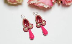 Items similar to Small Pink Soutache Earrings with Long Drop Magenta Beige Silver Autumn Fall Elegant Delicate Cute Birthday Party Jewelry Sweet 16 Gift on Etsy Drop Earrings, Pink Beige, Magenta, Sweet 16 Gifts, Soutache Earrings, Jewelry Design, Unique Jewelry, Jewelry Party