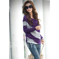 $4.78 Casual Style Loose-Fitting Cowls Neck Long Sleeves Cotton Blend Stripe T-Shirts For Women