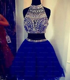 Two Piece Homecoming Dress,Charming Prom Dress,Tulle Homecoming Dresses,Beaded