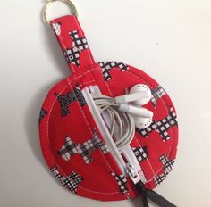 Red Scottie Dog Fabric Circular Zippered Earbud Pouch by sewmoira