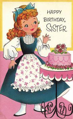 Vintage 1960s Die-Cut Happy Birthday Sister Greetings Card (B4a)