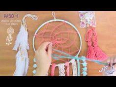 Cómo hacer un atrapasueños, fácil, paso a paso   How to make a dreamcatcher - YouTube Doily Dream Catchers, Crochet Dreamcatcher, Tapestry Crochet, Crochet Videos, Diy Crochet, Diy Tutorial, Diy And Crafts, Handmade, Dreamcatchers