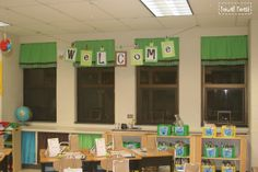 Curtains w tension rods for windows. My Classroom in Pics! by Becca @ Foxwell Forest