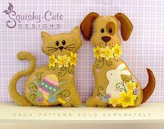 Hond knuffeldier Patroon Vilt Plushie deur SquishyCuteDesigns