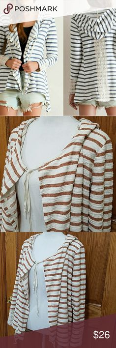 "❤NWOT Entro Oversized Open Hood Striped Cardi Terra-cotta pin striped hood open cardigan featuring drape front. Crochet lace detailing on back featuring side pockets on front. Slightly hi-low. Non-sheer. Unlined. Woven. Lightweight.Great earthy texture to fabric. Pull string hoodie, pullstring asymetrical bottom hem. Fiber Content: 89% cotton, 11% polyester Fit is true to size.(loose fit). Breastline up to 23, length 24"" front, 28"" back. Sleeve inseam 18.25"". Brand new, never worn…"