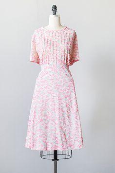 vintage 1950s plus size pink floral day dress