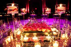 low wedding centerpiece box with floating candles Low Wedding Centerpieces, Wedding Flower Arrangements, Wedding Table, Wedding Flowers, Wedding Decorations, Wedding Blog, Wedding Ideas, Candle Centerpieces, Wedding Receptions