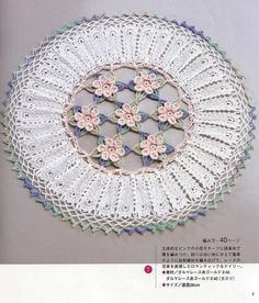 Circular Doily with Flowers Crochet Pattern. More Patterns Like This!