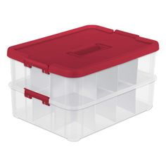 Sterilite 1427 Stack & Carry 2 Layer 24 Ornament Storage Box Red Lid and Handle See-through layers Ornament Storage Box, Christmas Ornament Storage, Ornament Box, Red Ornaments, Storage Tubs, Storage Containers, Storage Boxes, Plastic Bins, Plastic Storage