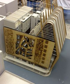 Petru du Toit: University of the Free State, Bloemfontein, South Africa. Thesis: The paradox of rehabilitation in a world that is saturated within a virtual world (internet addiction rehab centre in Bloemfontein). Model showing existing facade of urban building with new addition