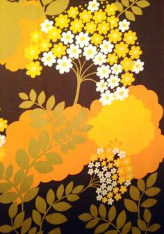 Amazing Vintage swedish retro fabric from the 70s.  Orange and yellow, with a floral pattern