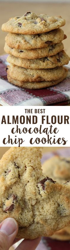 Flour Chocolate Chip Cookies (Grain-Free) An all-time favorite recipe! Crispy on the outside, soft on the inside and slightly buttery. People tell me all the time they prefer these cookies to their traditional cookie recipes.Inside Inside may refer to: Low Carb Sweets, Low Carb Desserts, Healthy Sweets, Gluten Free Desserts, Gluten Free Recipes, Low Carb Recipes, Delicious Desserts, Yummy Food, Delicious Chocolate