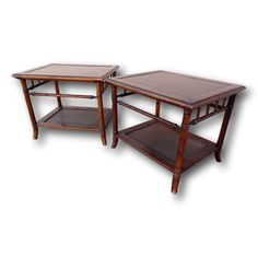 Vintage Pair Faux Bamboo Side End Tables Cane Wicker Shelf Hollywood Regency #HollywoodRegency