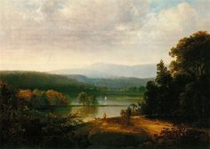 River View with Hunters and Dogs, by American artist Thomas Doughty