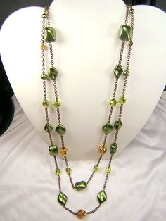 Czech Glass Necklace Set Bohemian NEW Vintage Chunky Boho Green & Golden Beads #ClassicoCollectionNYC #UniqueChunkyBohemianVintage