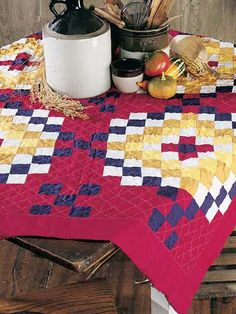 Quilting - Home Decor - Table Topper Quilt Patterns - 1-2-3 Nine-Patch Quilt Pattern - #FQ00430
