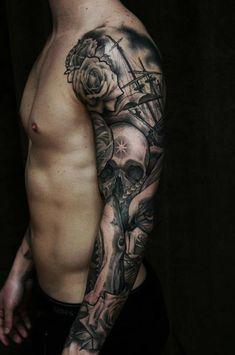 full sleeve tattoo - 80  Awesome Examples of Full Sleeve Tattoo Ideas  <3 <3