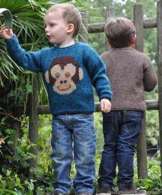 Le pull Singe du 2 au 12 ans - tricoté en mélange Alpaga+Surnaturelle - Aig 4 - 4.5 - 5.5