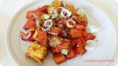 Con pan y postre: Tofu con pimiento rojo y cebolleta al estilo chino...