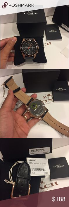 💐👑Coach Men's Sullivan Sport Chronograph Watch 🏝🌹 100% Authentic Coach Men's Watch Rose Gold and Black Leather💐🏝Hold Round, SS Case, tacymeter bezel w/ aluminum ring, 44mm Fawn soft port  Buckle Closure Quartz Chronograph Movement Mineral Crystal Water Resistant to 99 Feet Style No: 14602057 Coach Accessories Watches