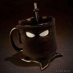 A Ninja Mug Equipped with an Insulating Mask, Spoon Sword, and Shuriken Coaster
