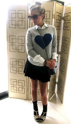 love her skirt, sock/heel combo