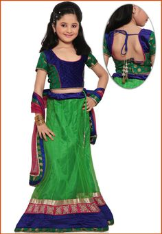 Parrot Green Shimmer Net Readymade Lehenga Choli with Dupatta