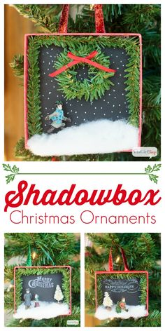 Make these darling shadowbox Christmas ornaments! Amy from Atta Girl Says shows us how!