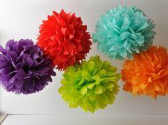 Tissue paper poms. So much fun for a wedding shower!
