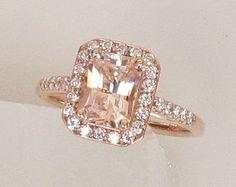 Radiant Cut Peach Sapphire 1.68cts 14k Rose Gold Diamond Halo Engagement Ring Weddings Anniversary