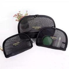 3195761bcf96 3pcs set CHANEL Beaute Black Mesh Makeup Bags Cosmetic Pouches VIP Gift