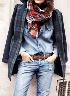 Layered tartan over jeans