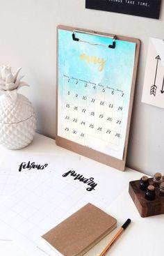 may calendar , calendario de mayo, gold, dorado, watercolor