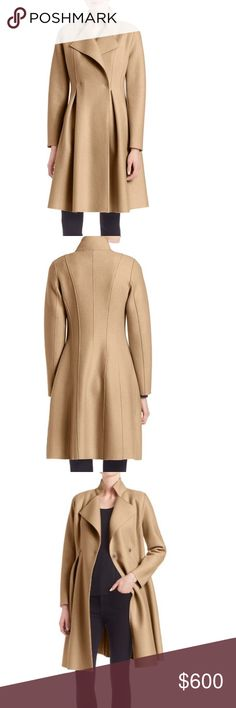 """Harris Wharf London Woolen Long Coat (Brand new) Embrace posh glamor with this rich Italian wool coat (brand new, I just used the extra button that comes with it for something else) Notched lapel Surplice neckline Front double snap closure Long sleeves Front and back darts Princess seams Fit and flare style Unlined About 52"""" from shoulder to hem Wool Dry clean Made in Italy Model shown is 5'10"""" (177cm) wearing US size 4 Style code: 0400090076253 Harris Wharf London Jackets & Coats"""
