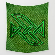 CELTIX #4.2 Vibrant Psychedelic Celtic Optical Illusion Design Wall Tapestry