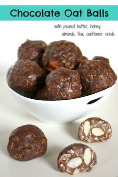 The Garden Grazer: Chocolate Oat Balls. No need to heat ingredients. Place wet Ingr. In food processor first . Replace pb w other seed/ nut butter.