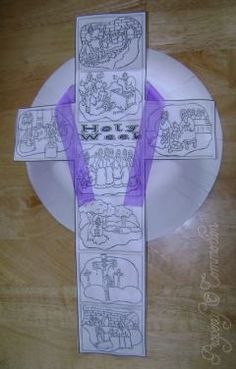 Holy Week Cross Craft - Color the plate and the events of Holy Week, then glue in sequence, wrap with a pretty purple ribbon, and mount to a paper plate.