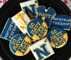 Go Navy Beat Army Sugar Cookie Collection by NotBettyCookies Army Vs Navy, Go Navy Beat Army, Sugar Cookie Frosting, Royal Icing Cookies, Sugar Cookies, Navy Football, Navy Party, Naval Academy, Family Birthdays