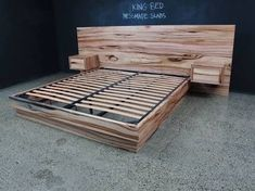 Discover thousands of images about Messmate Flat head board incorporated bedsides Pallet Furniture, Furniture Projects, Home Projects, Cool Furniture, Bedroom Furniture, Timber Furniture, Timber Bedhead, Timber Beds, Floating Bed