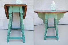 Restored Antique Butterfly Drop Leaf Table - Modern Refinish in Weathered Teal Green & Walnut Restored Antique Butterfly Drop Leaf Table - Modern Refinish in Weathered Teal Green Walnut. Great for small spaces, apartments Redo Furniture, Painted Furniture, Refinishing Furniture, Table, Flipping Furniture, Butterfly Table, Vintage Table, Retro Side Table, Drop Leaf Table