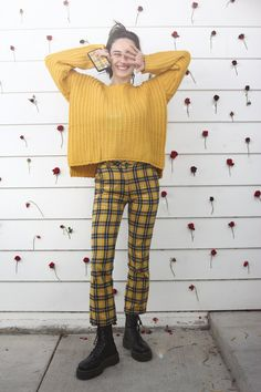 Details: Style No. Color: Mustard The perfect cozy sweater for your lazy Sunday errands. Import Measurements for size small - Bust: 37 in - Sleeve length: in Fall Outfits, Cute Outfits, Fashion Outfits, Edgy Outfits, Devon Carlson, Devon Lee, Queen, Cute Shirts, Autumn Winter Fashion