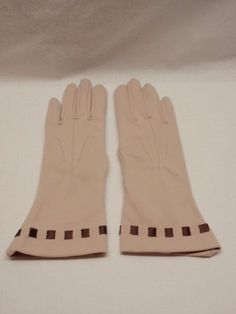 Vintage Dress Gloves Taupe Flared Cuff Woven Ribbon Kayser Medium 100% Nylon  #Kayser #Everyday
