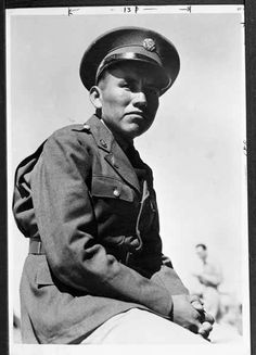 Navajo soldier, World War II, by Milton Snow. Palace of the Governors Photo Archives 030957.