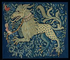 Fragment of a Tapestry or Wall Hanging, ca. 1420–30. Made in Basel, Switzerland. The Metropolitan Museum of Art, New York. The Cloisters Collection, 1990 (1990.211) | This tapestry fragment represents a fabulous lionlike beast with pointed teeth, clawed feet, and a scaly rump. #cloisters