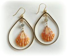 Gold teardrop sunrise shell earrings by Namakamaenani on Etsy, $45.00