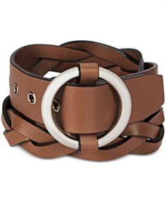 Womens 2 wide Hip High Waist Braided Woven cowhide full grain Leather Belt