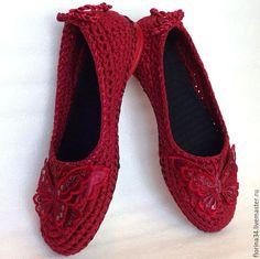 """Обувь ручной работы. Ярмарка Мастеров - ручная работа. Купить Балетки вязаные """"Батерфляй"""", бордо, хлопок, р.37. Handmade."""